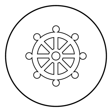 Symbol budhism wheel law religious sign icon outline in circle black color vector illustration simple image flat style