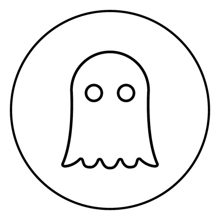 Ghost icon outline in circle black color vector illustration simple image flat style