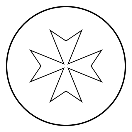 Maltese cross icon outline in circle black color vector illustration simple image flat style