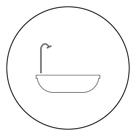 Bath  icon black color in circle or round vector illustration