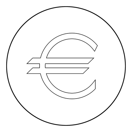 Euro symbol it is the black color icon in circle or round Stock Illustratie