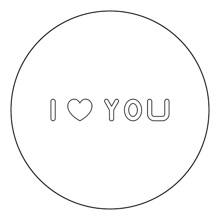 I love you  icon black color in circle or round vector illustration Иллюстрация
