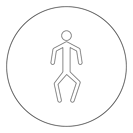 A man with crooked legs  icon black color in circle or round vector illustration