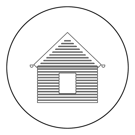 Siding front  icon black color in circle or round vector illustration