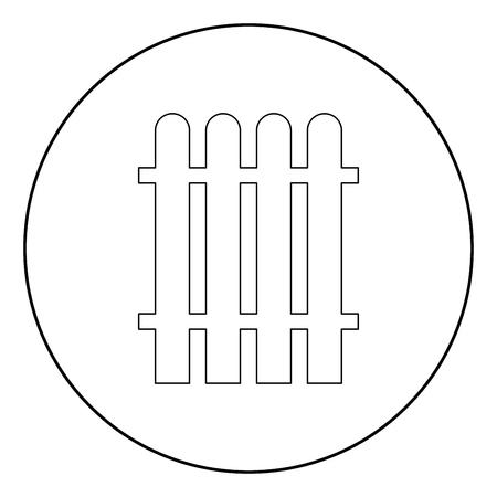 Fence  icon black color in circle or round vector illustration Illusztráció