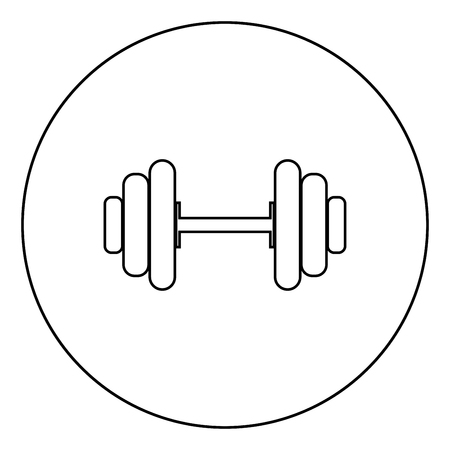 Dumbbell it is the black color icon in circle or round