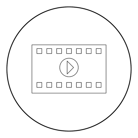 A frame from a movie it is the black color icon in circle or round Illustration