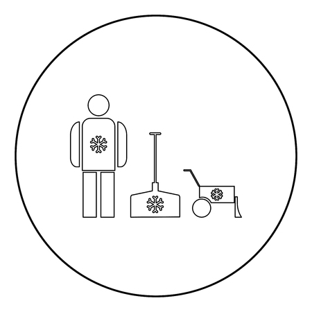 Snow removal  icon black color in circle or round vector illustration