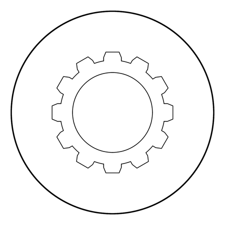 Gear it is the black color icon in circle or round Banco de Imagens - 102330358