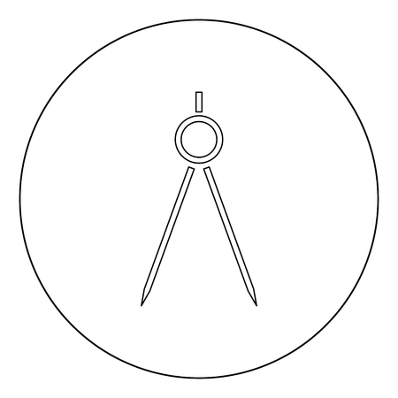 Pair of compasses  icon black color in circle or round vector illustration