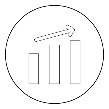 Growth chart it is the black color icon in circle or round
