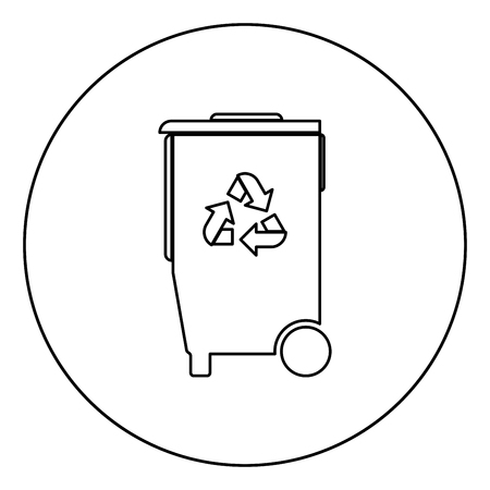 Refuse bin with arrows utilization it is the black color icon in circle or round