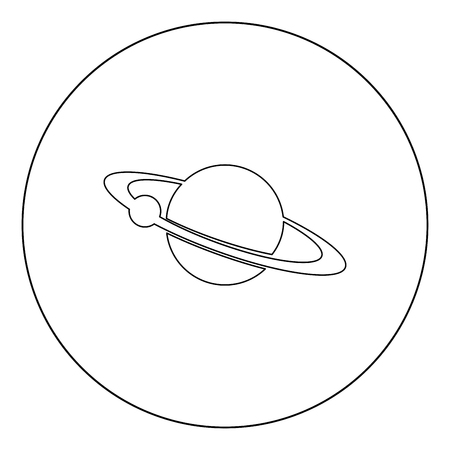 Planet with satellite on the ring  icon black color in circle or round vector illustration Ilustrace