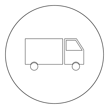 Truck  icon black color in circle or round vector illustration Stock Illustratie