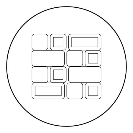 Tile  icon black color in circle or round vector illustration