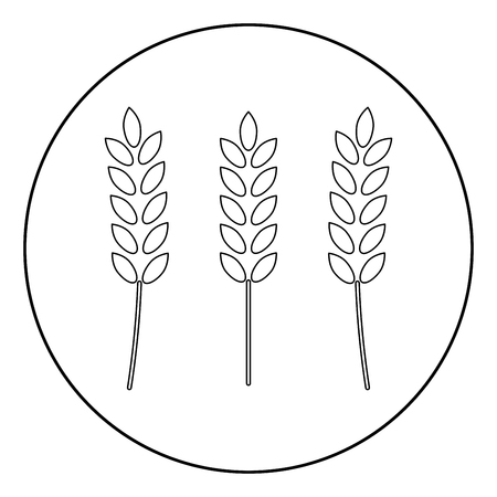 Wheat  icon black color in circle or round vector illustration