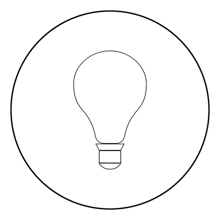 Bulb it is the black color icon in circle or round  イラスト・ベクター素材