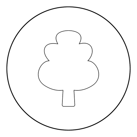 Tree  icon black color in circle or round vector illustration