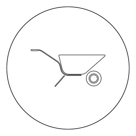 Wheelbarrow cart icon outline black color in circle vector illustration