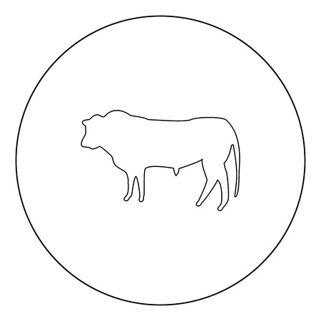 Bull icon outline black color in circle vector illustration Illustration