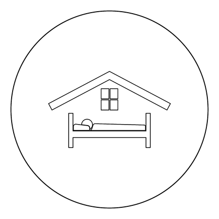 Man in bed hotel icon black color in circle vector illustration Banque d'images - 102330449