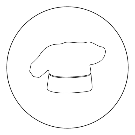Chef cooking hat icon outline black color in circle vector illustration