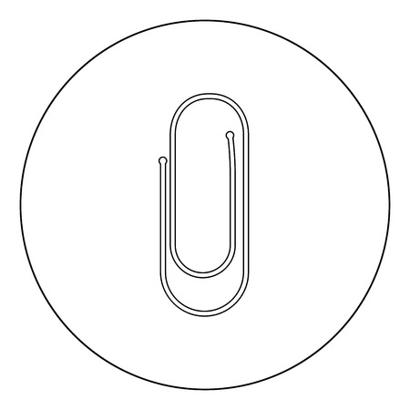 Paper clip icon black color in circle vector illustration