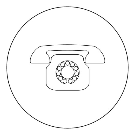 Retro telephone icon outline black color in circle vector illustration Иллюстрация