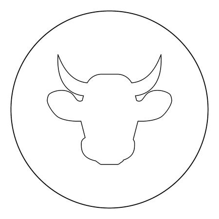 Cow head icon black color in circle vector illustration Illustration