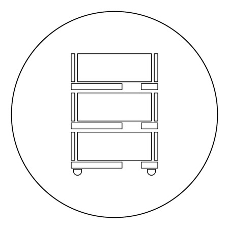 Floor rack for paper icon outline black color in circle vector illustration