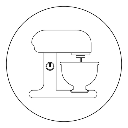 Food processor icon outline black color in circle vector illustration