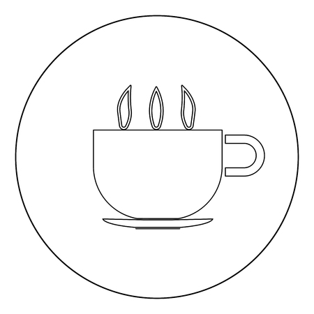 Cup with hot tea or coffee icon black color in circle vector illustration