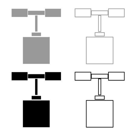 Detonator icon set grey black color outline
