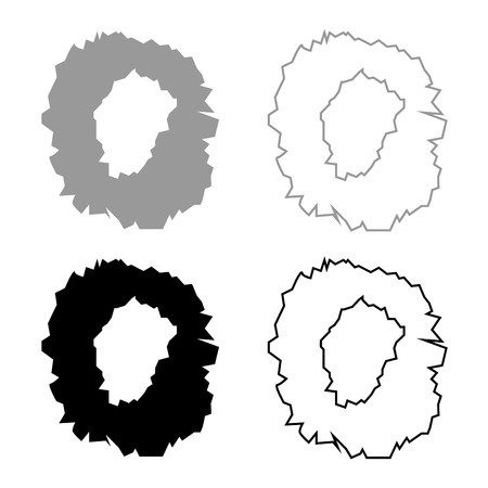 Hole in the surface icon set grey black color outline Illustration