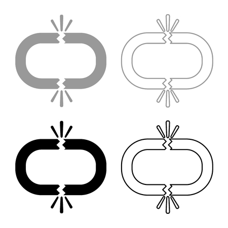 Broken link icon set grey black color outline Vectores
