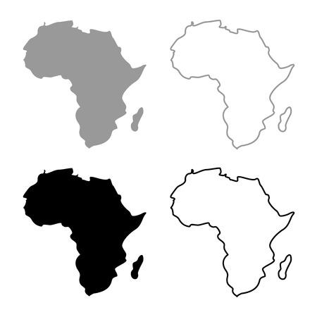 Map of Africa icon set grey black color outline Standard-Bild - 102323166