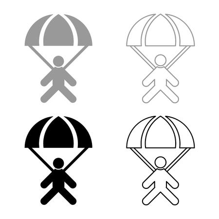 Parachute jumper icon set grey black color outline Illustration