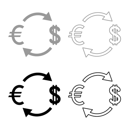 Currency exchange icon set grey black color outline Reklamní fotografie - 102323198