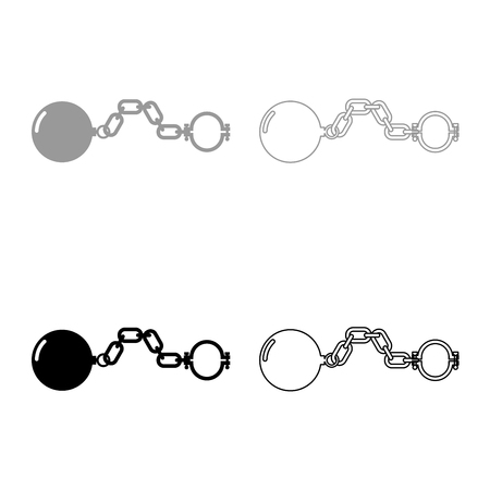 Shackles with ball icon set grey black color outline