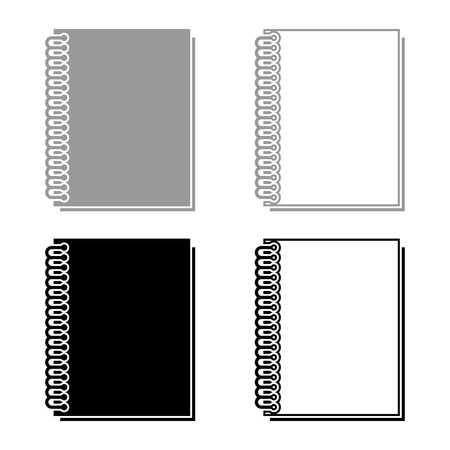 Notebook with spring icon set grey black color outline