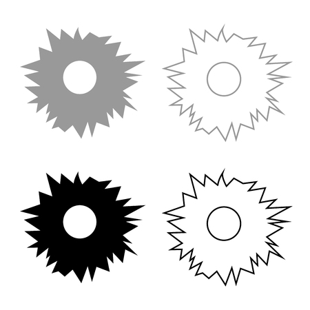 Hole from shot icon set grey black color outline