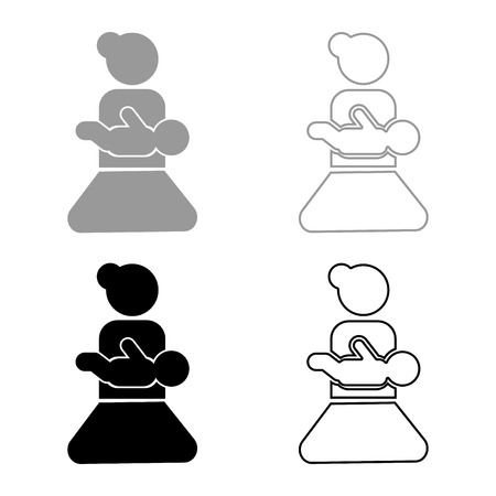 Mother holding baby on hand icon set grey black color outline