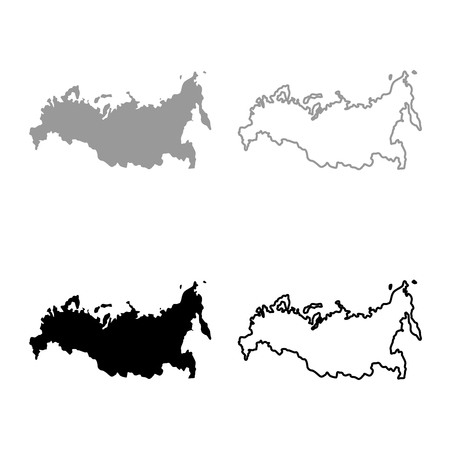 Map of Russian icon set grey black color outline Çizim
