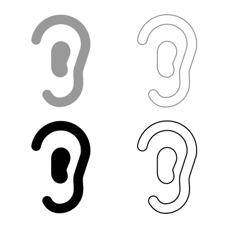 Ear icon set grey black color outline