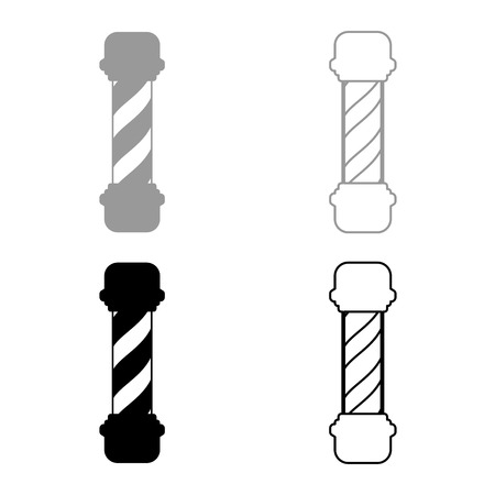 Barber shop pole icon set grey black color outline Vettoriali