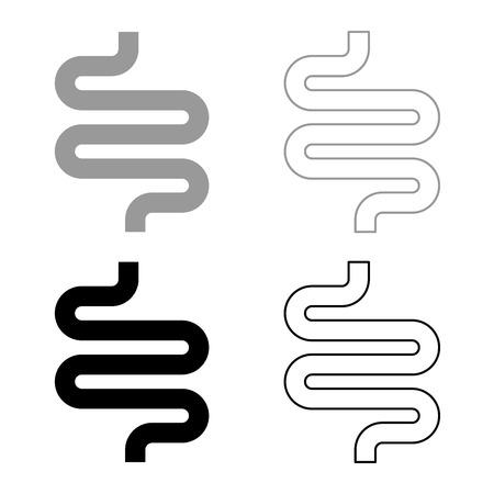 Intestine or bowels icon set grey black color outline