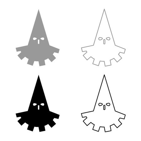Executioner hangman icon set grey black color outline
