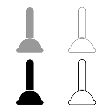 Toilet plunger sanitary tools household cleaning icon set grey black color outline