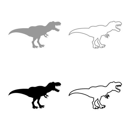 Dinosaur tyrannosaurus t rex icon set grey black color outline Illustration