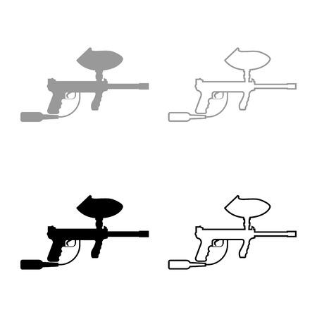 Weapons for paintball icon set grey black color outline Foto de archivo - 102323277